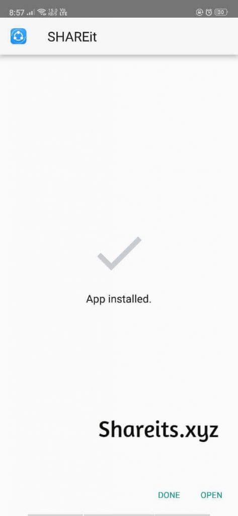 Successfully Installed SHAREit App